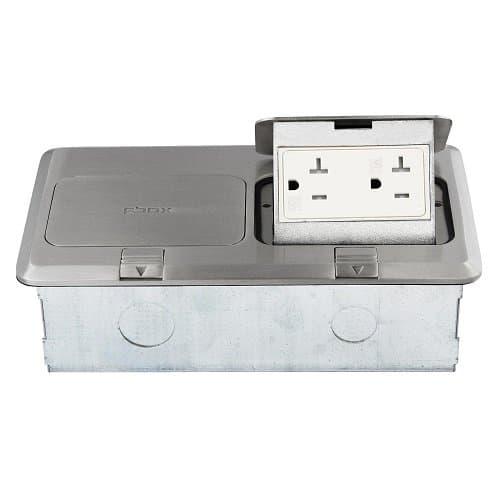 Enerlites 2-Gang Pop-Up Floor Box with 20A Tamper & Weather Resistant Decora Receptacles