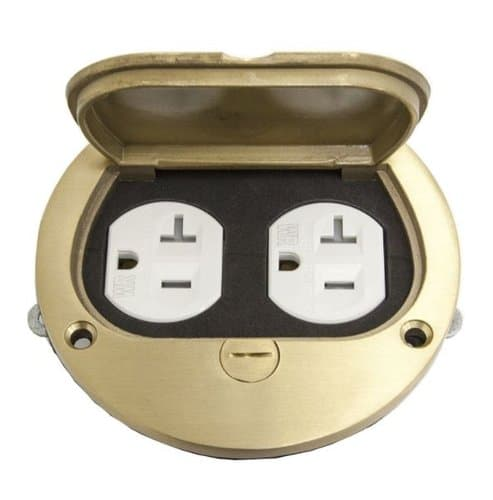 Enerlites Brass Flush Round Flip Lid Cover Plate with 20A TRWR Duplex Receptacle