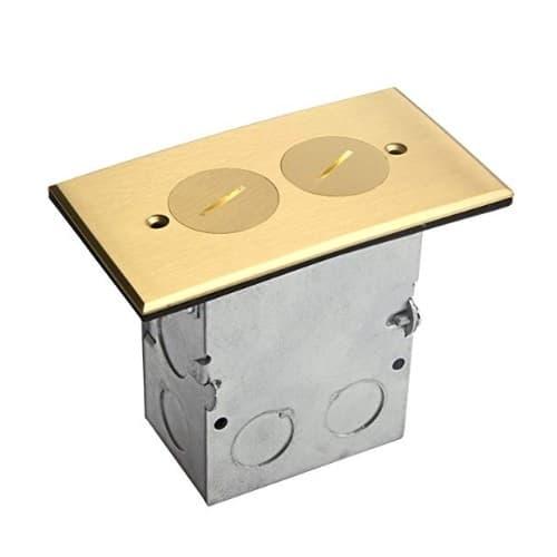 Enerlites Brass 1-Gang Floor Box, 20 Amp Tamper/Weather Resistant Duplex Outlet