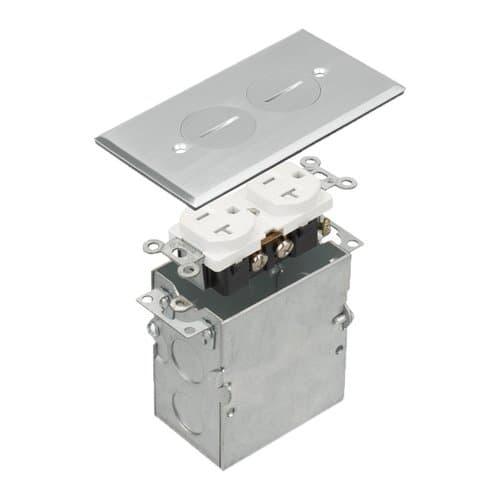 Enerlites Stainless Steel 1-Gang Floor Box with 20A TRWR Duplex GFCI