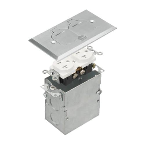 Enerlites Stainless Steel 1-Gang Floor Box with Flip Cover & 20A TRWR Duplex GFCI