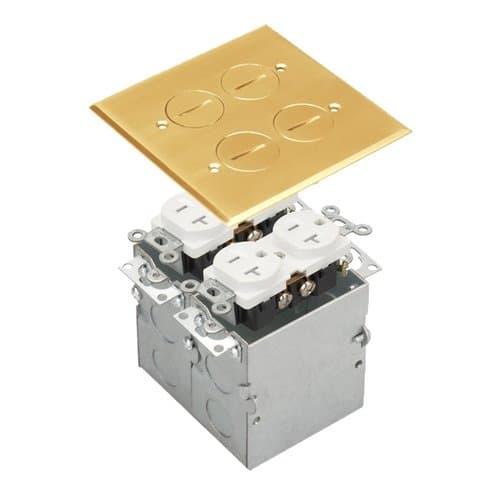Enerlites Brass 2-Gang Floor Box with 20A TRWR Duplex Receptacle