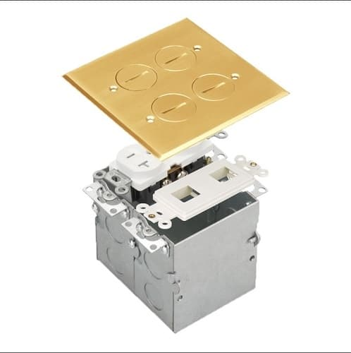 Enerlites Brass 2-Gang Floor Box with 20A TRWR Duplex Receptacle and Datacom
