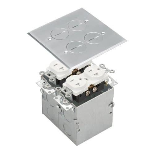 Enerlites Stainless Steel 2-Gang Floor Box with 20A TRWR Duplex Receptacle