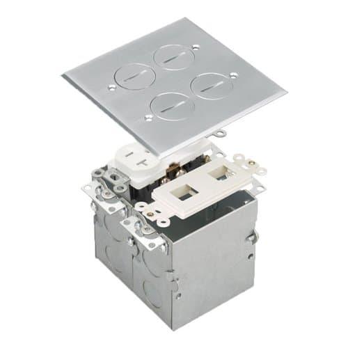 Enerlites Stainless Steel 2-Gang Floor Box w/ Duplex Outlet/Datacom