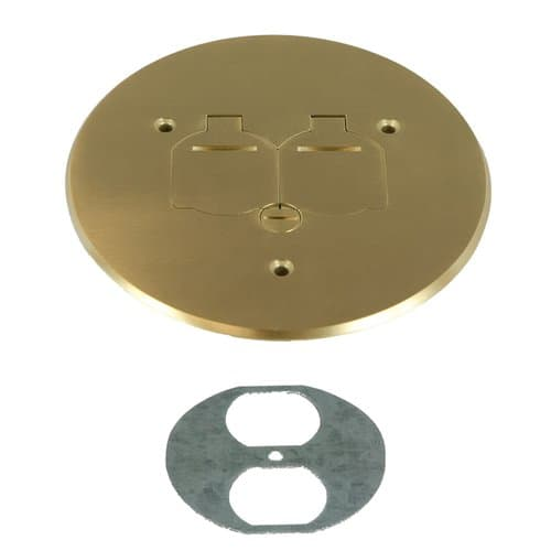 Enerlites Brass 5-3/4 Inch Dia. Round Flip Cover Plate with 20A TRWR Duplex Receptacle