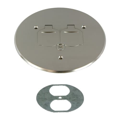 Enerlites 5-3/4 Inch Dia. Round Flip Cover Plate with 20A TRWR Duplex Receptacle, Nickel