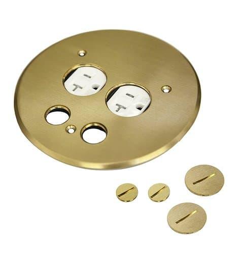 Enerlites 20A TRWR Brass 5.5 Inch Dia. Flush Round Cover Plate w/ Duplex Receptacle