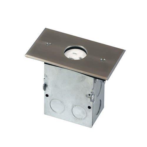 Enerlites Stainless Steel 1-Gang Floor Box with 20A TRWR Single Receptacle
