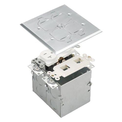 Enerlites Brass 2-Gang Floor Box w/ Flip Cover, 20A TRWR Receptacle, & Datacom