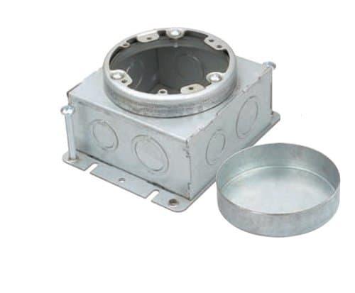 "Enerlites Pre-Galvanized Steel Commercial Square Box Round Cover w/ 11/16"" Cover"