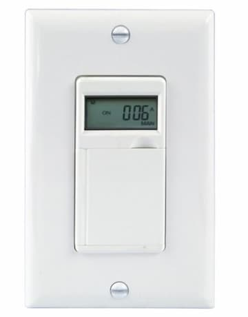 Enerlites White 7-Day Digital In-Wall Programmable Timer Switch