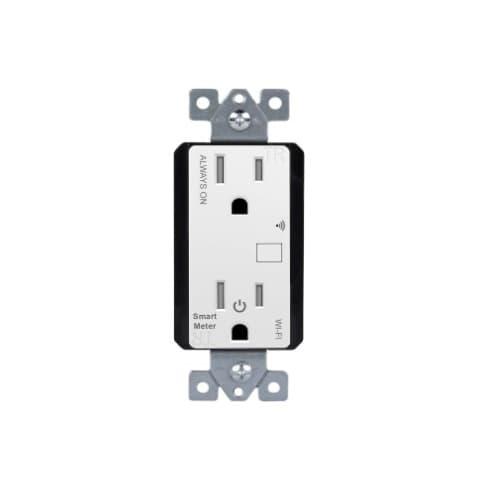 WiFi-Enabled Duplex Receptacle w/ Energy Metering, White