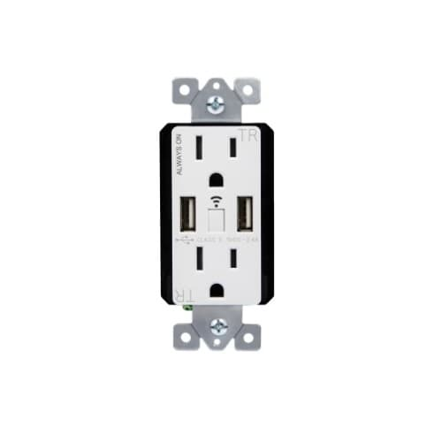 Smart Wi-Fi Duplex Receptacle w/ Energy Metering & 2.4A USB