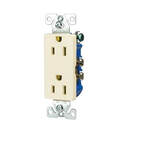Eaton Wiring 15 Amp Decora Receptacle, Duplex, Almond