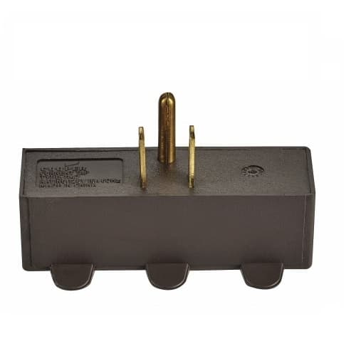 125V 3 Outlet Tap, Single Receptacle, Brown