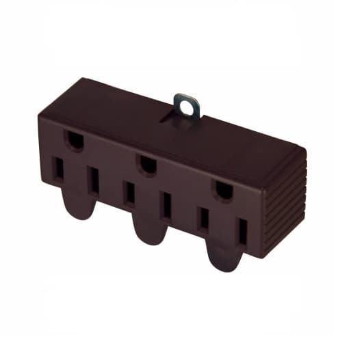Eaton Wiring 15 Amp Three Outlet Adapter, Swivel, Brown