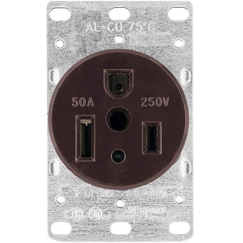 Eaton Wiring 50 Amp NEMA 6-50R 250V Heavy Duty Flush Mount Power Receptacle