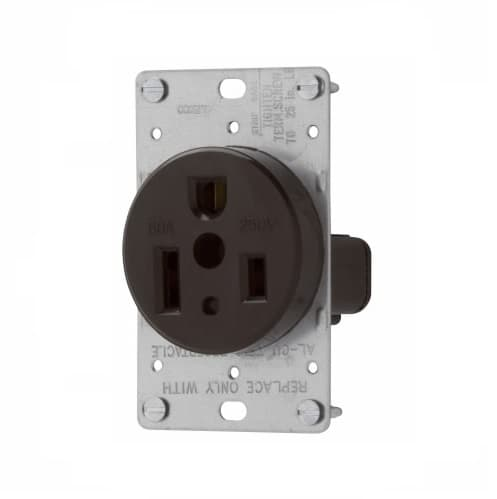 Eaton Wiring 50 Amp Power Receptacle, NEMA 6-50R, Black