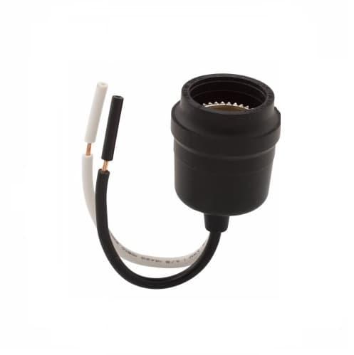 660W Pigtail Lamp Holder, Medium Base, Weatherproof, Black