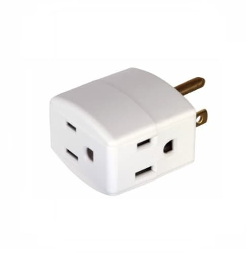 Eaton Wiring 15 Amp Cube Tap, Three Outlet, White