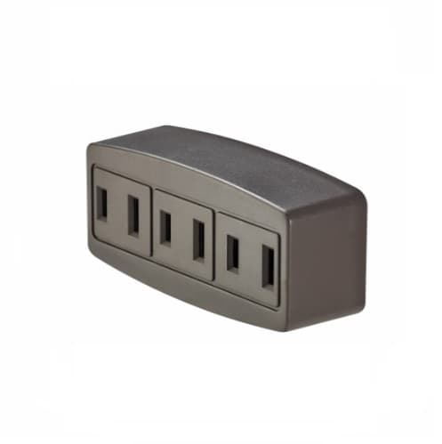 Eaton Wiring 15 Amp Cube Tap, Three Outlet, Brown