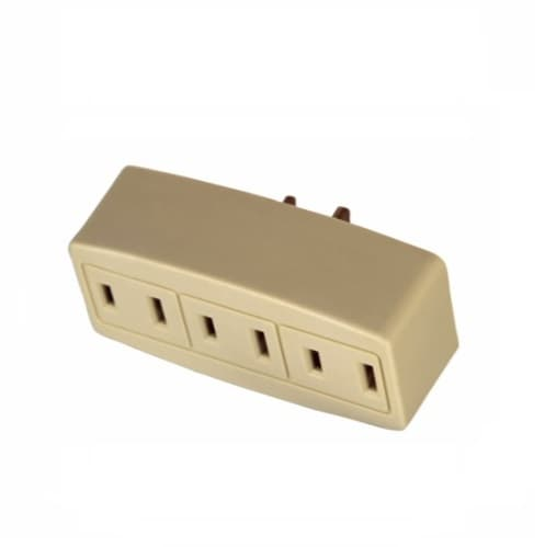Eaton Wiring 15 Amp Cube Tap, Three Outlet, Ivory