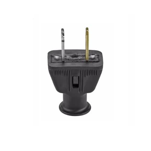 15 Amp Straight Blade Plug, Polarized, 2-Pole, 2-Wire, #18-10 AWG, 125V, Black