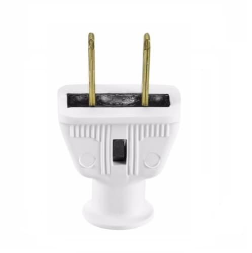 15 Amp Rubber Plug, NEMA 1-15P, White