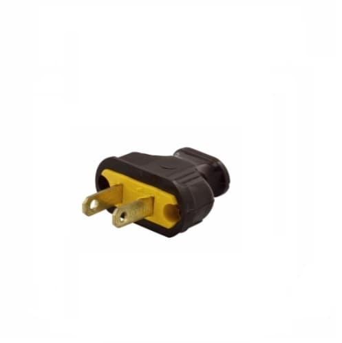 15 Amp Plug w/ Flat, NEMA 1-15P, Brown