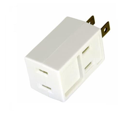 Eaton Wiring 15 Amp Cube Tap, Three Outlet Box, NEMA 1-15R, White