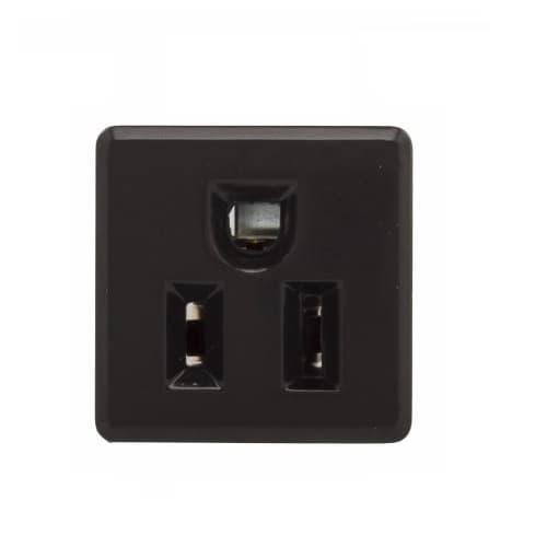 15 Amp NEMA 5-15R 125V Single Snap-in Receptacle, Fiber Back & Steel Clips