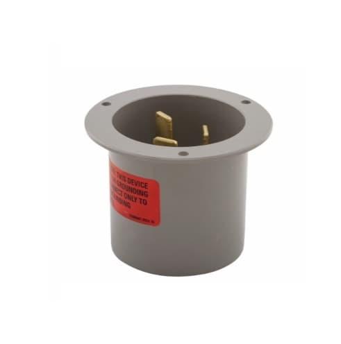 Eaton Wiring 50 Amp Flanged Inlet, Angled, NEMA 10-50P, Gray