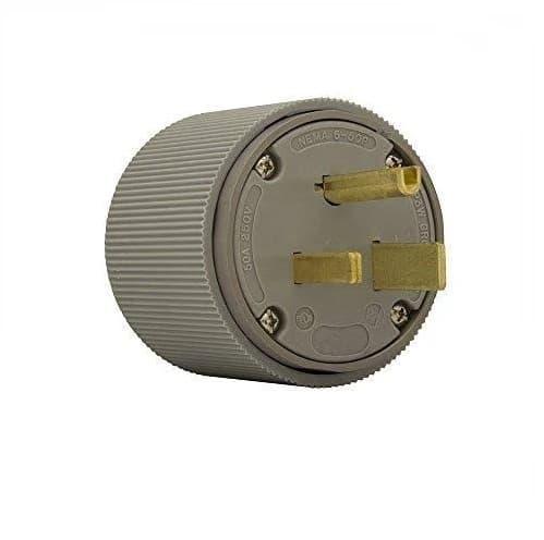 Eaton Wiring 50 Amp Electric Plug, Straight, NEMA 6-50P, Grey