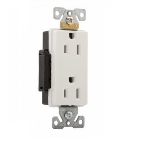 Eaton Wiring 15 Amp Industrial Grade Premium Decorator Duplex Receptacle, White