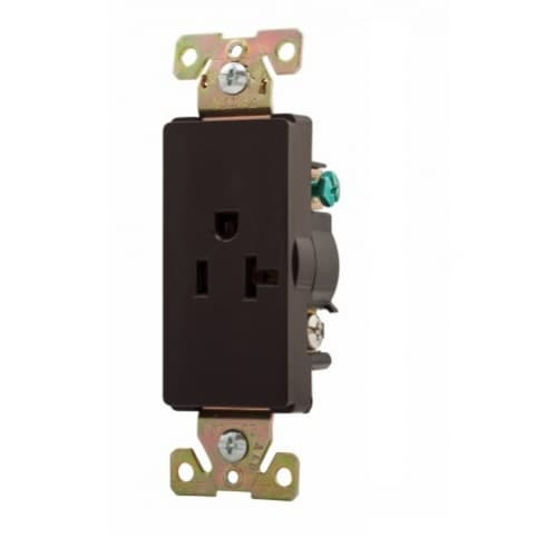 Eaton Wiring 20 Amp Decora Single Receptacle, Commercial Grade, Brown