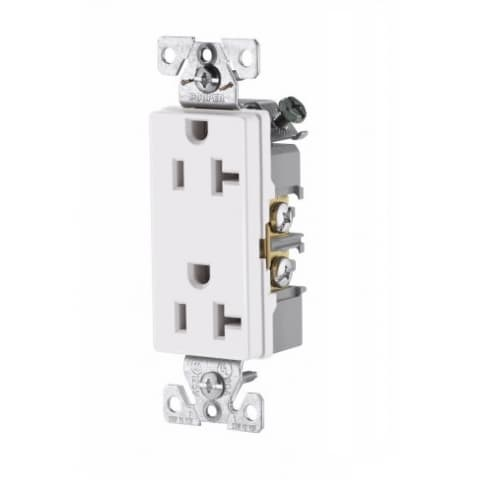 Eaton Wiring 20 Amp Decora Duplex Receptacle, Commercial Grade, White