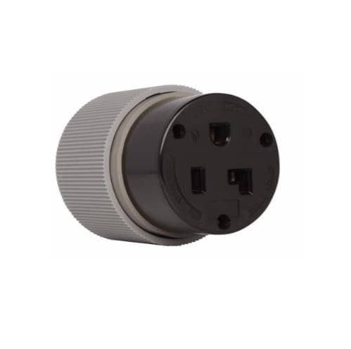 30 Amp Connector, Auto Grip, NEMA 6-30R, Black