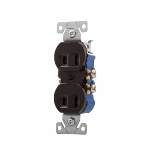 15 Amp Duplex Receptacle, Non-grounded, NEMA 1-15R, Brown