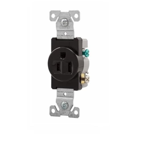 Eaton Wiring 15 Amp 2P3W Single Receptacle, Commercial Grade, Black