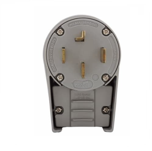 30 Amp Electric Plug, NEMA 18-30P, Angled, Grey