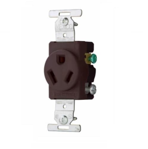 Eaton Wiring 20 Amp Straight Blade Single Receptacle, NEMA 7-20R, Industrial, Brown