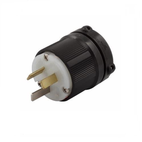 20 Amp Electric Plug, Safety Grip, NEMA 10-20P, Black
