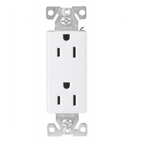 Eaton Wiring 15 Amp Aspire Duplex Receptacle, Tamper Resistant, White Satin