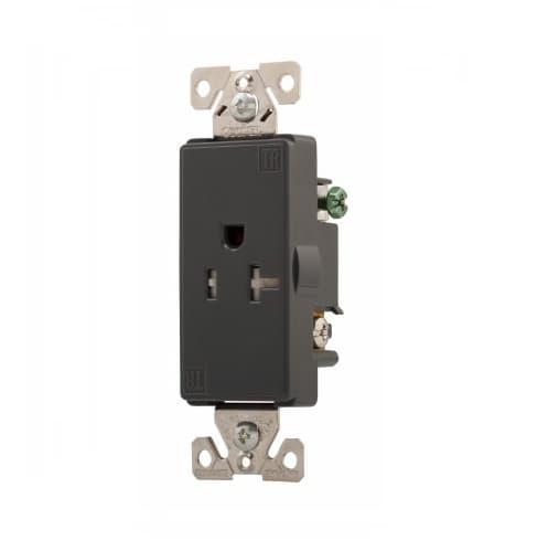 20 Amp AspireSingle Receptacle, Tamper Resistant, Silver Granite