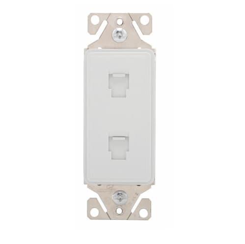 Eaton Wiring Phone Jack Insert, Double, White Satin