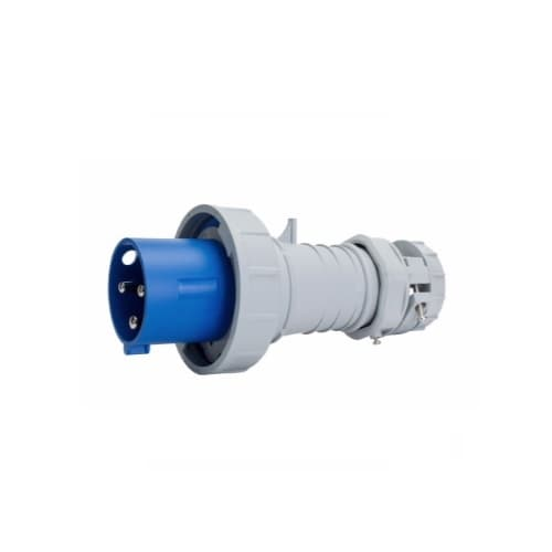 60 Amp Pin and Sleeve Plug, 2-Pole, 3-Wire, 250V, Blue