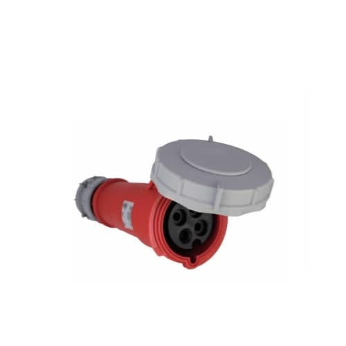 30 Amp Pin and Sleeve Connector, 3-Pole, 4-Wire, 480V, Red