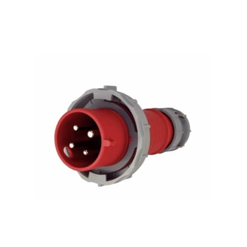 30 Amp Pin and Sleeve Plug, 3-Pole, 4-Wire, 480V, Red