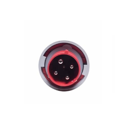 60 Amp Pin and Sleeve Plug, 3-Pole, 4-Wire, 480V, Red